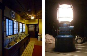 旅館やランタンの灯り